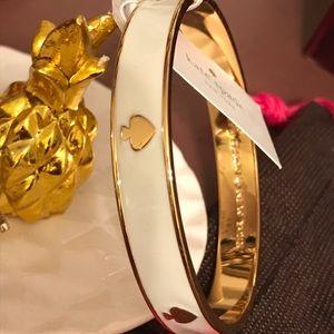 Kate Spade Gold & White Bangle Bracelet NWT